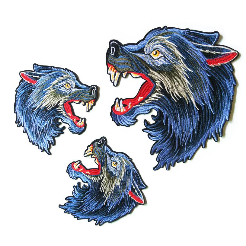 6c7ac774ddb67 Wolf Punk Embroidery Patch Iron on Fabric Animal Stickers DIY Applique  Decorative Badge for Clothing Jeans