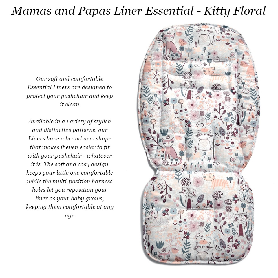 Mamas /& Papas Essentials Pushchair Liner Soft and Cosy Materials and Machine Washable Kitty Floral