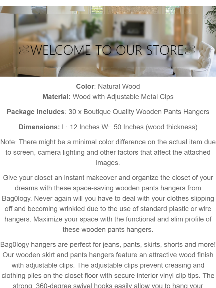 Boutique Quality Wooden Pants Hangers 30 Pcs
