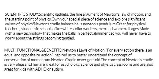 Newtons Cradle Pendulum 5 Balls Physics Educational Toys - Small Size