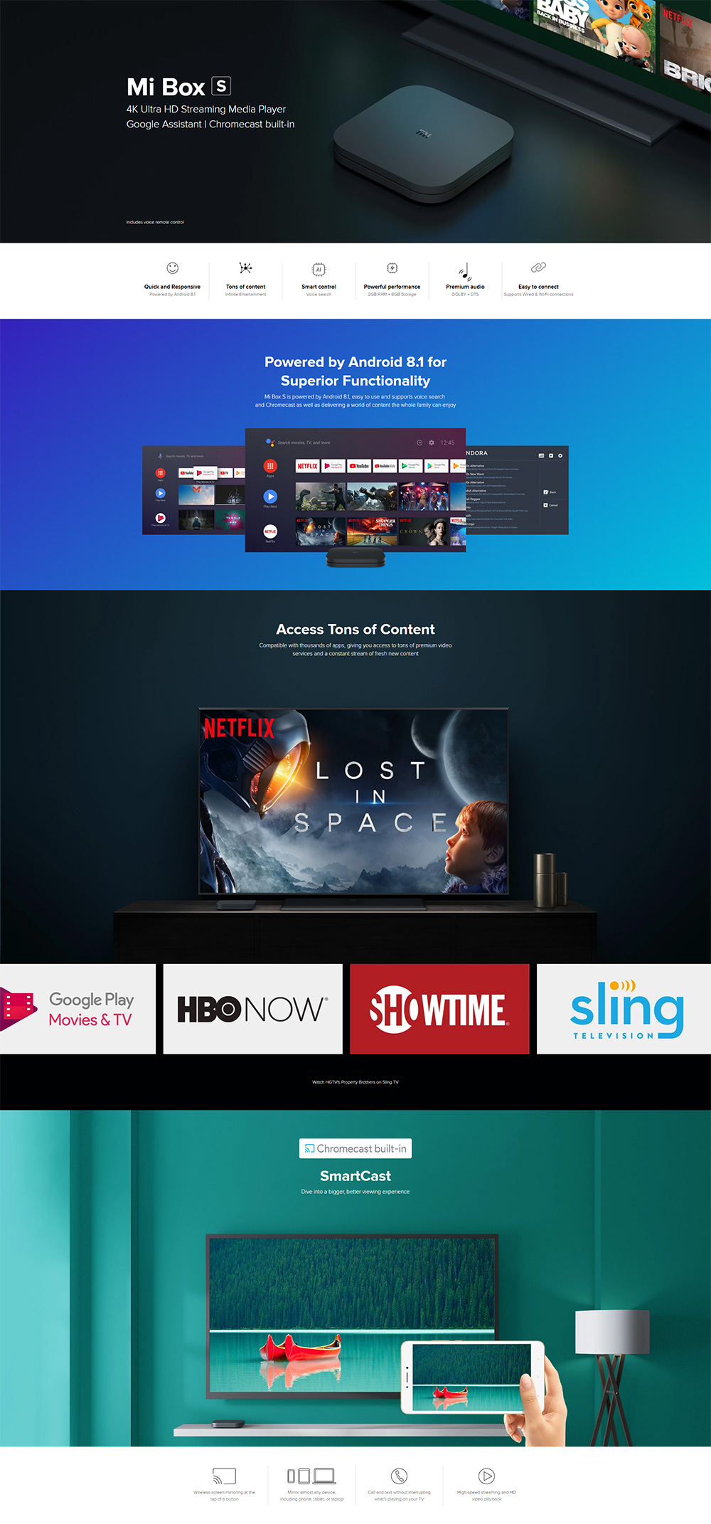 Xiaomi Mi Box S Android TV Streaming Media Player 4K HDR Quad Core 64 Bit  Android 8 1 2GB RAM + 8GB ROM with Google Assistant Remote Official