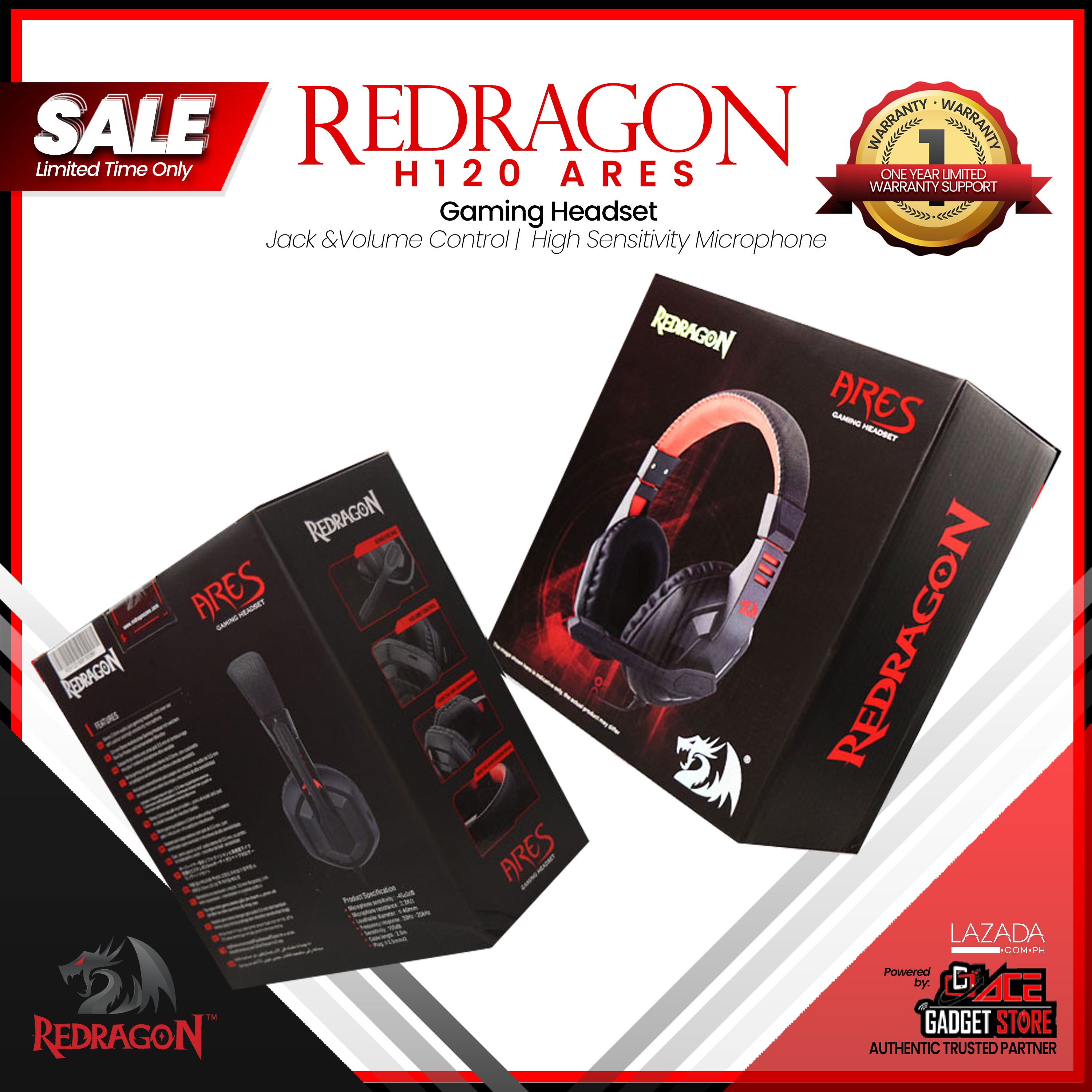 5512b083fdd6ce Redragon H120 Ares Gaming Headset, Wired Over Ear PC Gaming ...