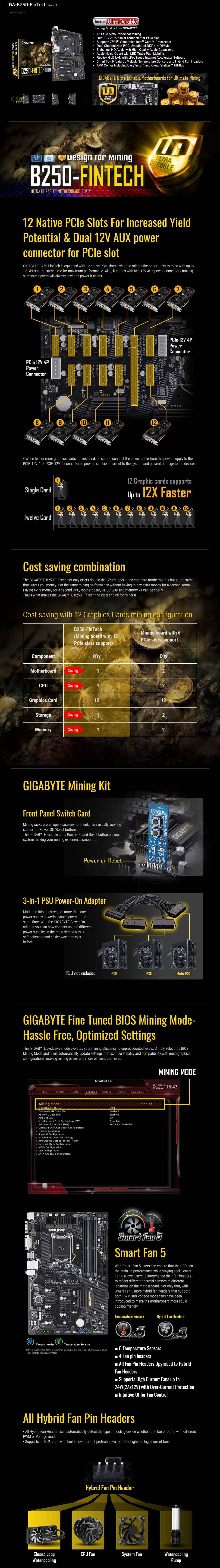 Gigabyte GA-B250 FinTech LGA1151 Intel ATX Cryptocurrency Mining 12PCIe 3 0  DDR4 Motherboard