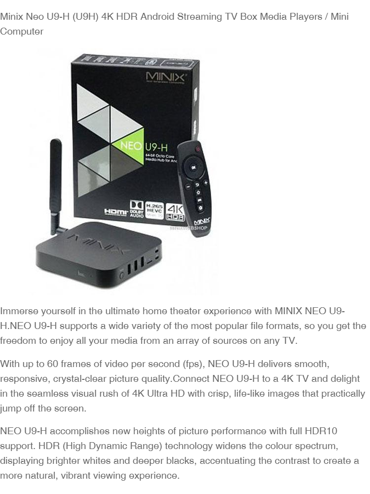 Minix Neo U9-H (U9H) 4K HDR Android Streaming TV Box Media Players / Mini  Computer