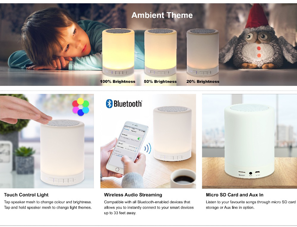 Bluetooth Speaker Touch Control Color LED Bedside Table Lamp Night Light