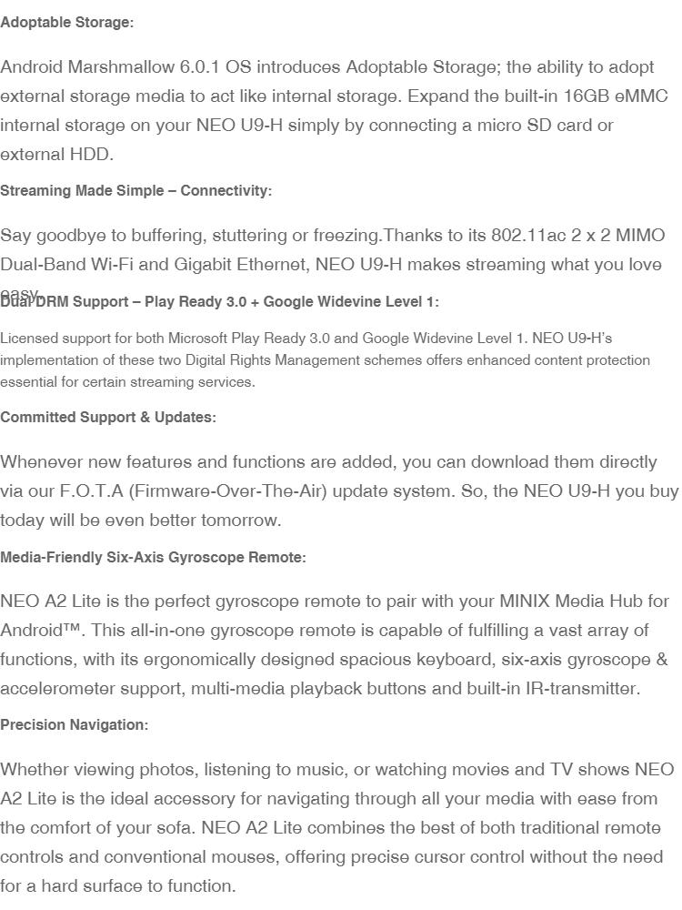 MINIX NEO U9-H Octa-core Android TV Box Wi-Fi MIMO 802 11 AC Dual-band  Wi-Fi with Minix A2 Lite Remote