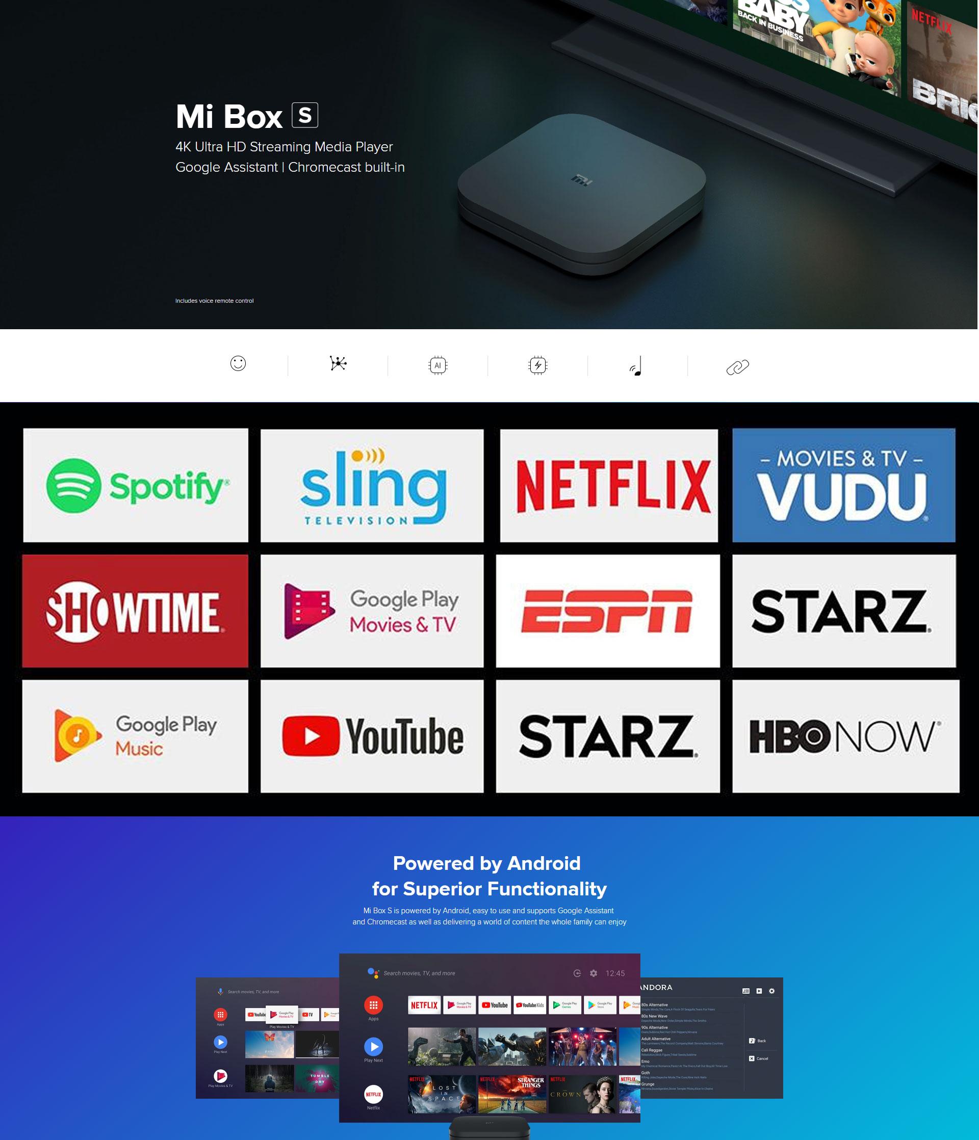 Xiaomi Mi TV Box S (Global Version) Smart 4K Ultra HD Streaming Media  Player IPTV Wi-Fi Bluetooth 4 2 Quad-Core CPU Netflix M19E(MDZ-22-AB) Black  +