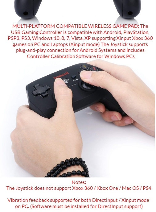 Redragon G808 Harrow Wireless Game Pad Controller for PC, PSP3, PS3, Xbox  360 Games on PC, Joystick for PC, Game Controller for PC Gaming of Windows