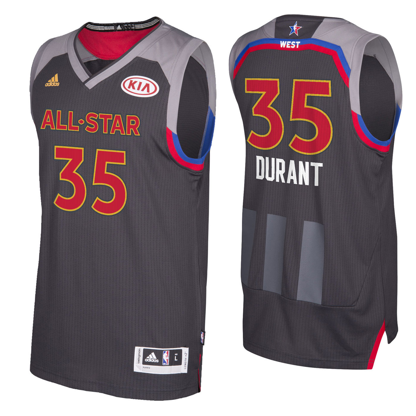 on sale ed579 236fb All Star NBA Western Kevin Durant 35 Black Jersey