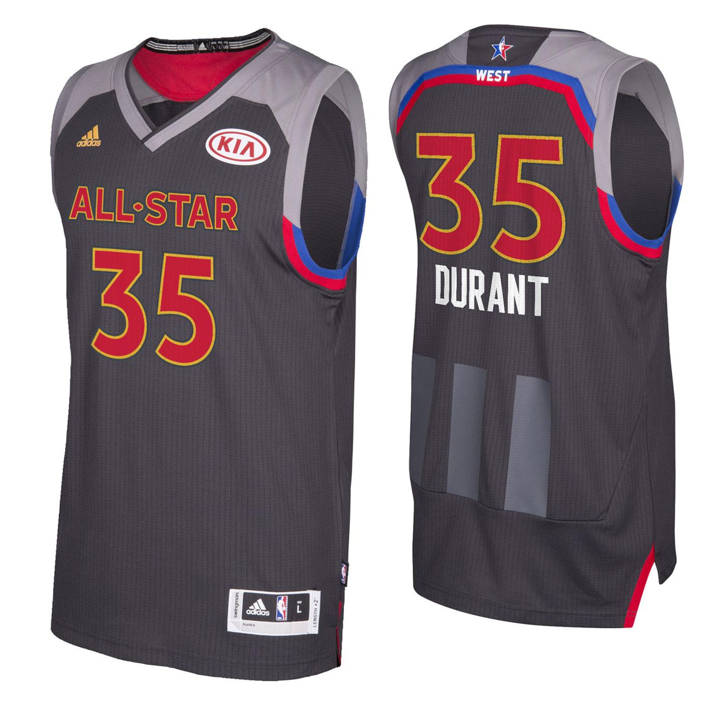 on sale fb8c3 3fa72 All Star NBA Western Kevin Durant 35 Black Jersey