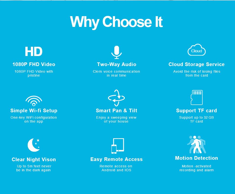 1080P IP Camera Wireless Home Security IP Camera Surveillance Camera Night  Vision Wifi Camera Baby Monitor