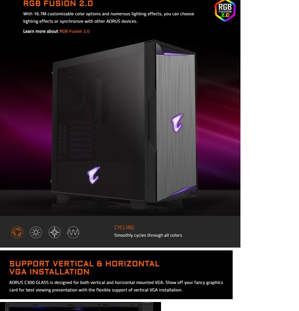 GIGABYTE AORUS C300 GLASS ATX Mid-tower Gaming PC Case