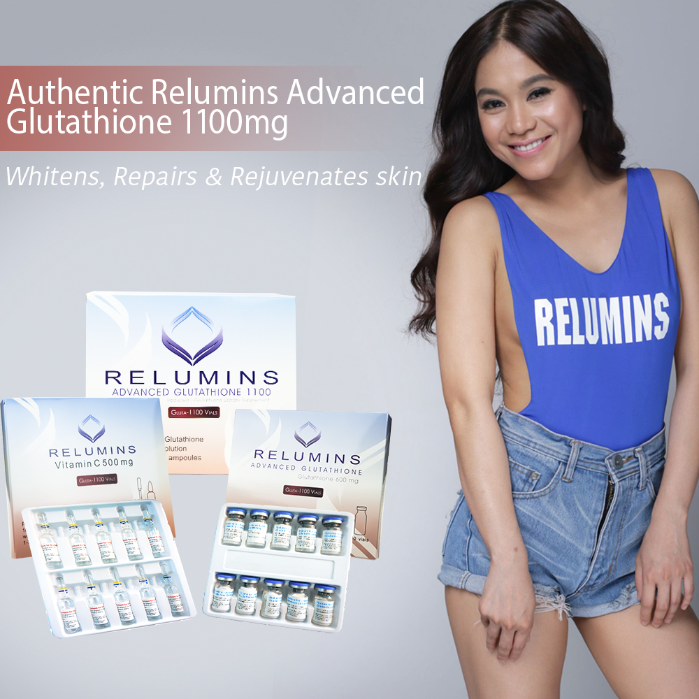 Relumins Advanced Glutathione 1100mg 10vls - Glutathione & Vitamin C -  Whitens, Repairs & Rejuvenates Skin with FREE COMPLETE MATERIALS