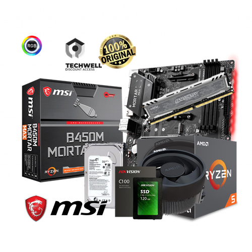 MSI B450M MORTAR, AMD RYZEN 5 2400G, 8gb Ballistix Gaming Ram, 500gb  Seagate and 120gb SSD