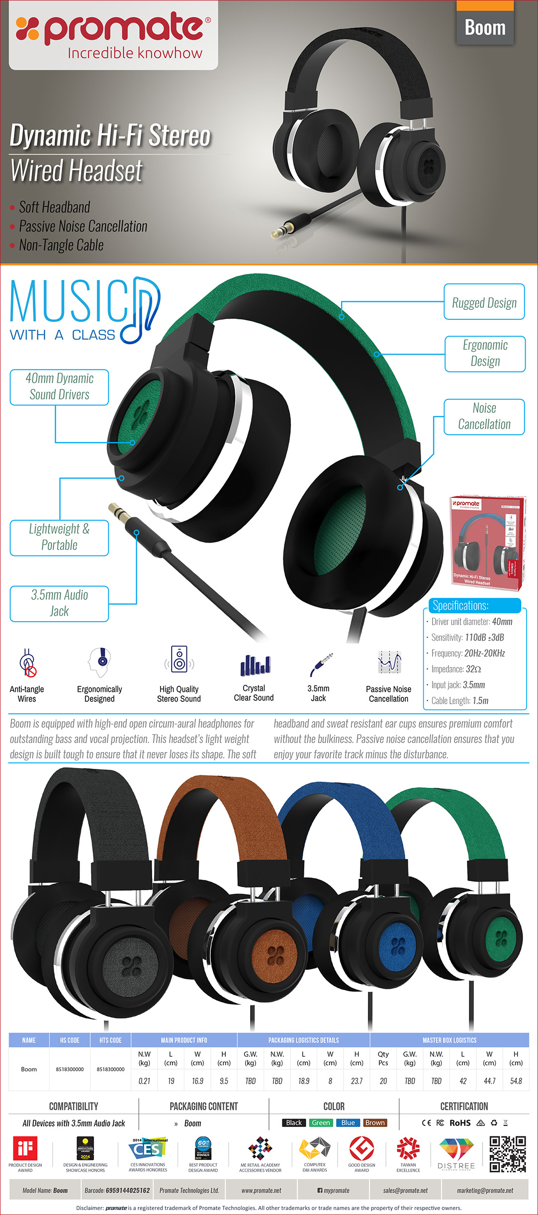 33a6b15bb97 Promate Boom 110dB Dynamic Hi-Fi Stereo Wired Headset with Passive ...