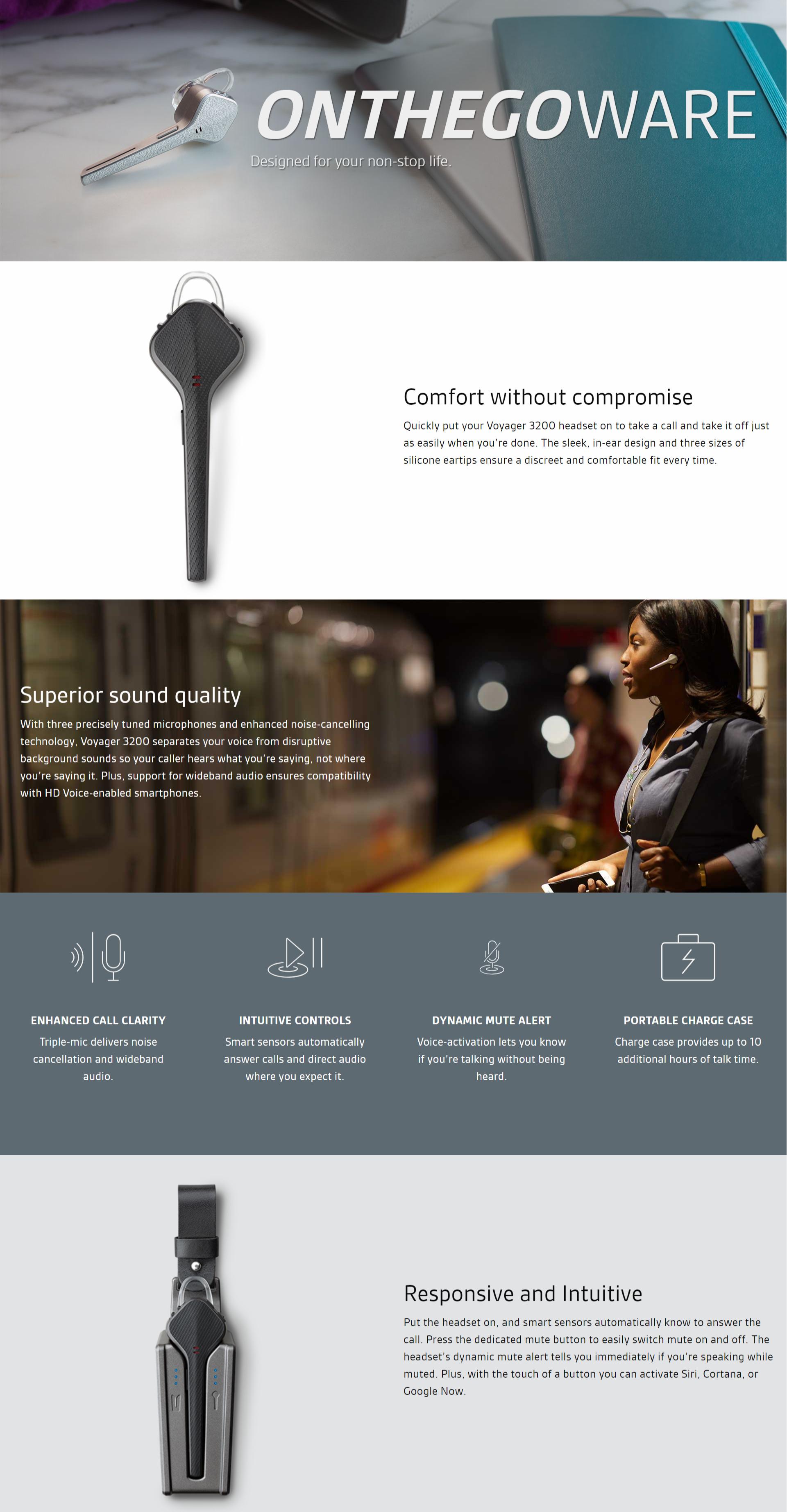 Plantronics Voyager 3200 Discreet Bluetooth Headset System