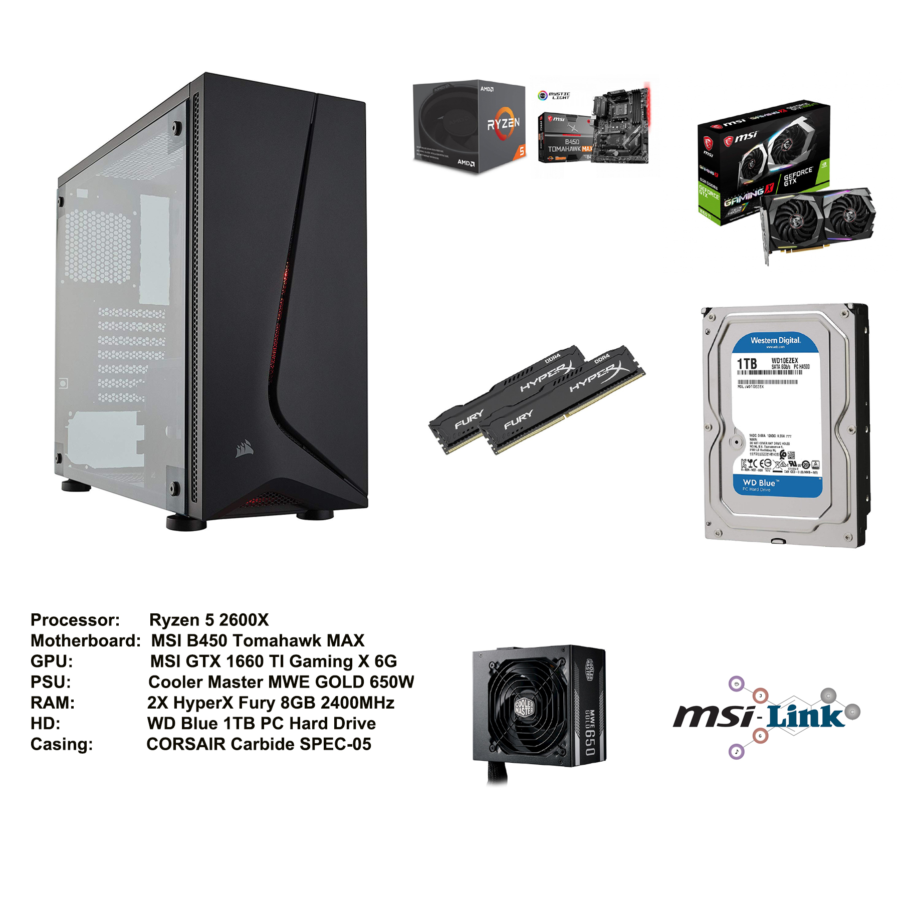 AMD Ryzen 2600X Processor and MSI Bundle: Ryzen 5 2600X, MSI B450 Tomahawk  MAX Motherboard , MSI GTX 1660 TI Gaming X 6G , Cooler Master MWE GOLD 650W