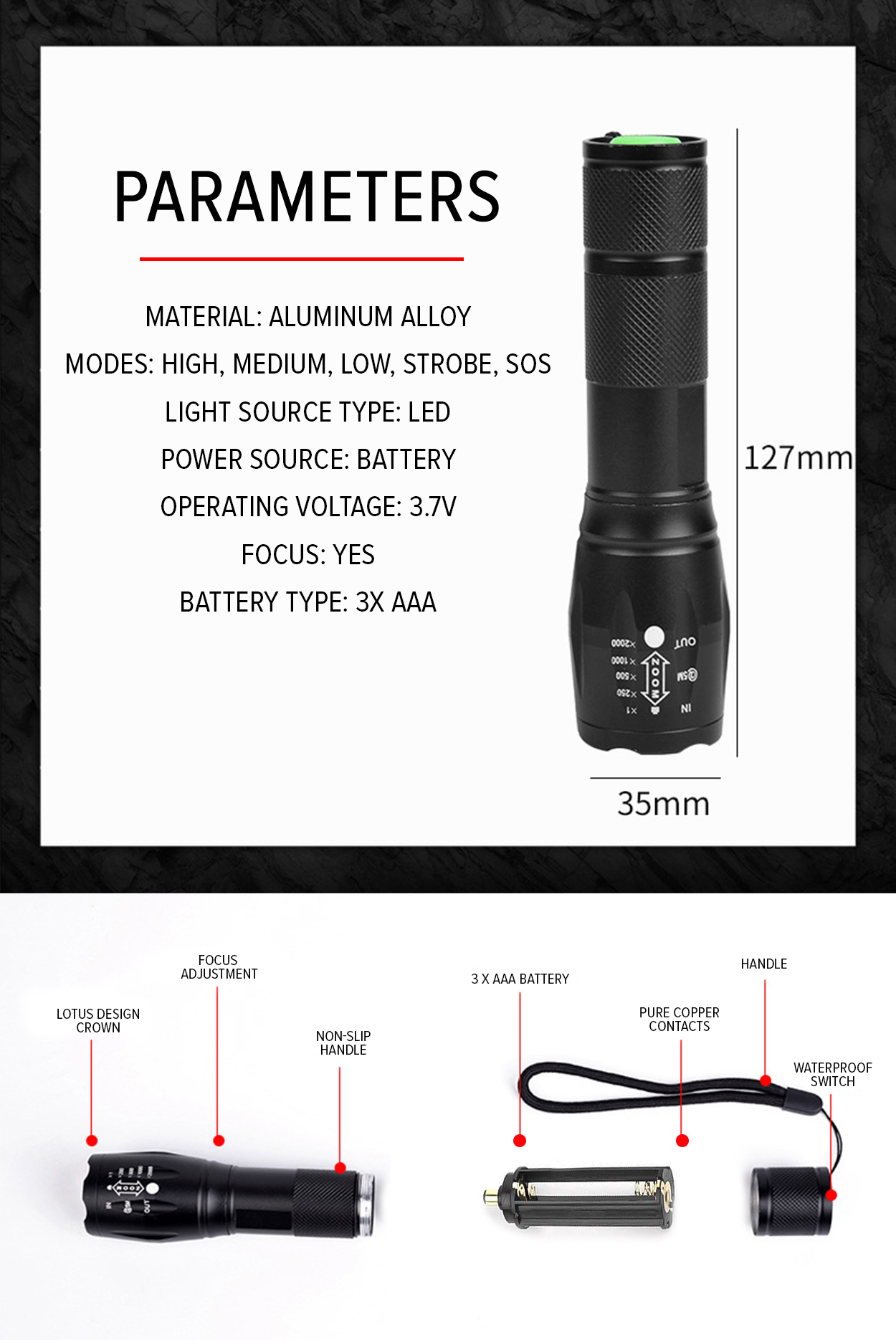 StarHome Bell + Howell Taclight 40x Brighter High-Powered Tactical  Flashlight with 5 Modes & Zoom Function (Black)