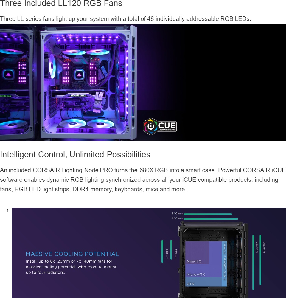 CORSAIR Crystal Series 680X RGB ATX High Airflow Tempered Glass Smart Case  — Black (CS-CC-9011168-WW)