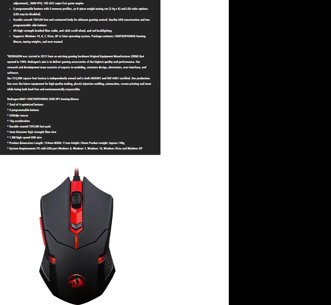 Redragon Centrophorus M601- Gaming Mouse- 3500Dpi
