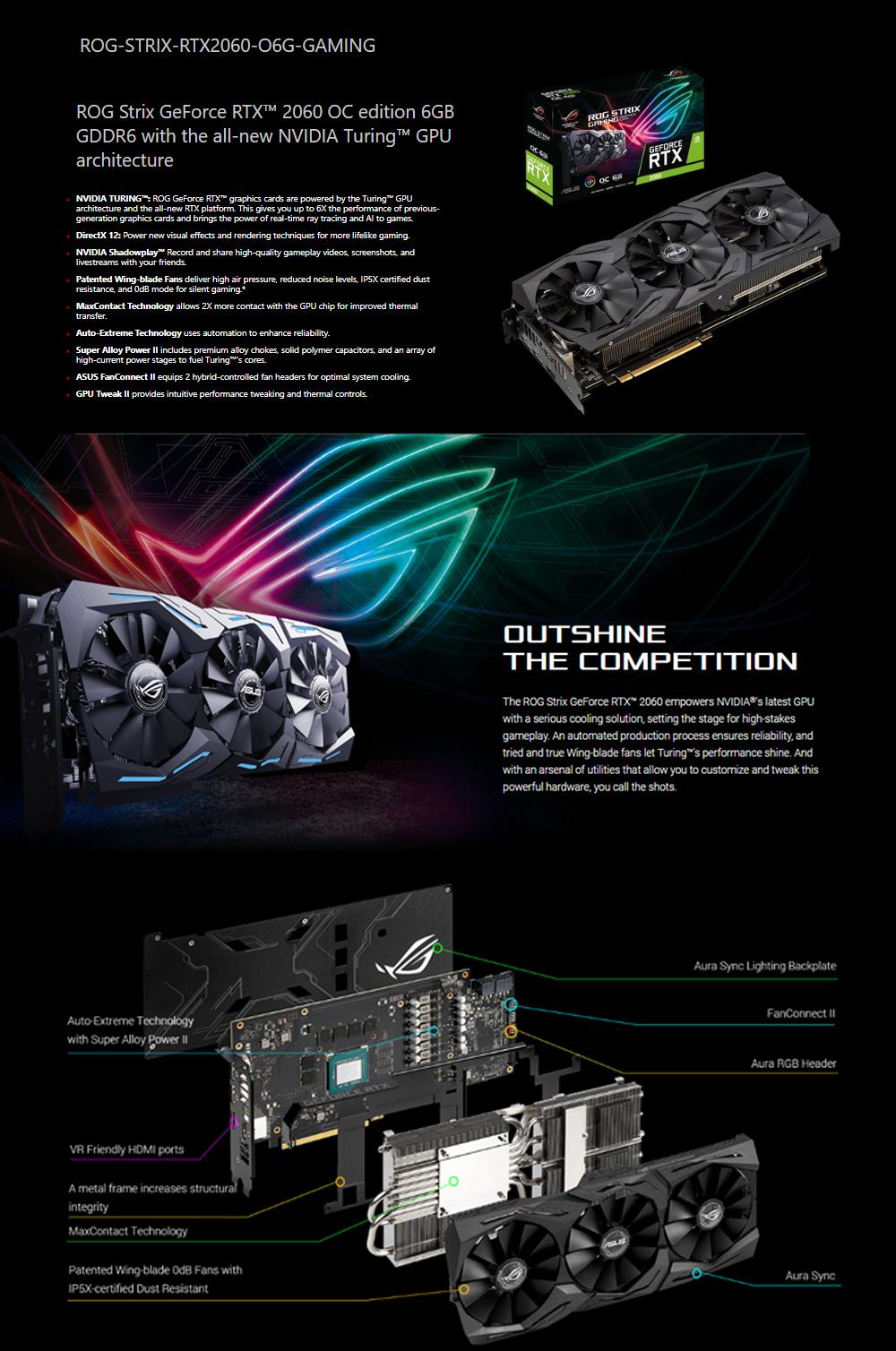 Asus ROG Strix GeForce RTX™ 2060 OC edition 6GB GDDR6 Video