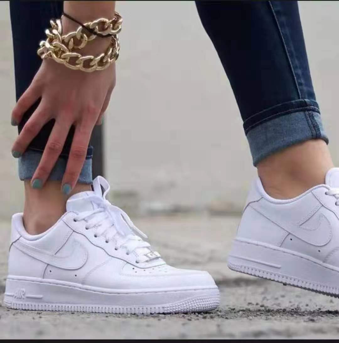 Nike Air Force 1 Fashion All White White Black Low Cut Shoes For