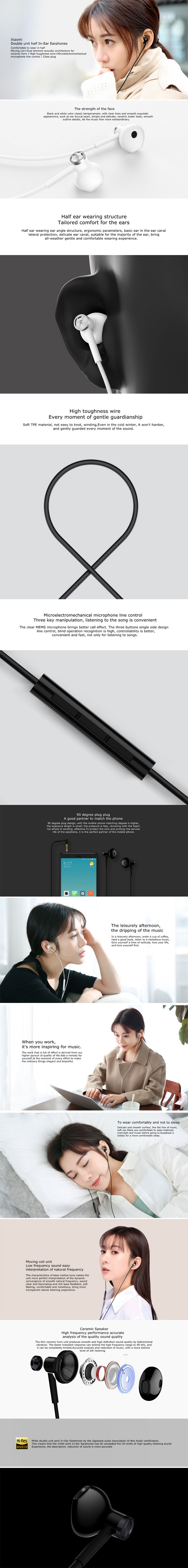6a7318cbd0b Specifications of 2018 New Original Xiaomi Mi Dual Driver 3.5mm Wired  Earphone with Microphone - Black