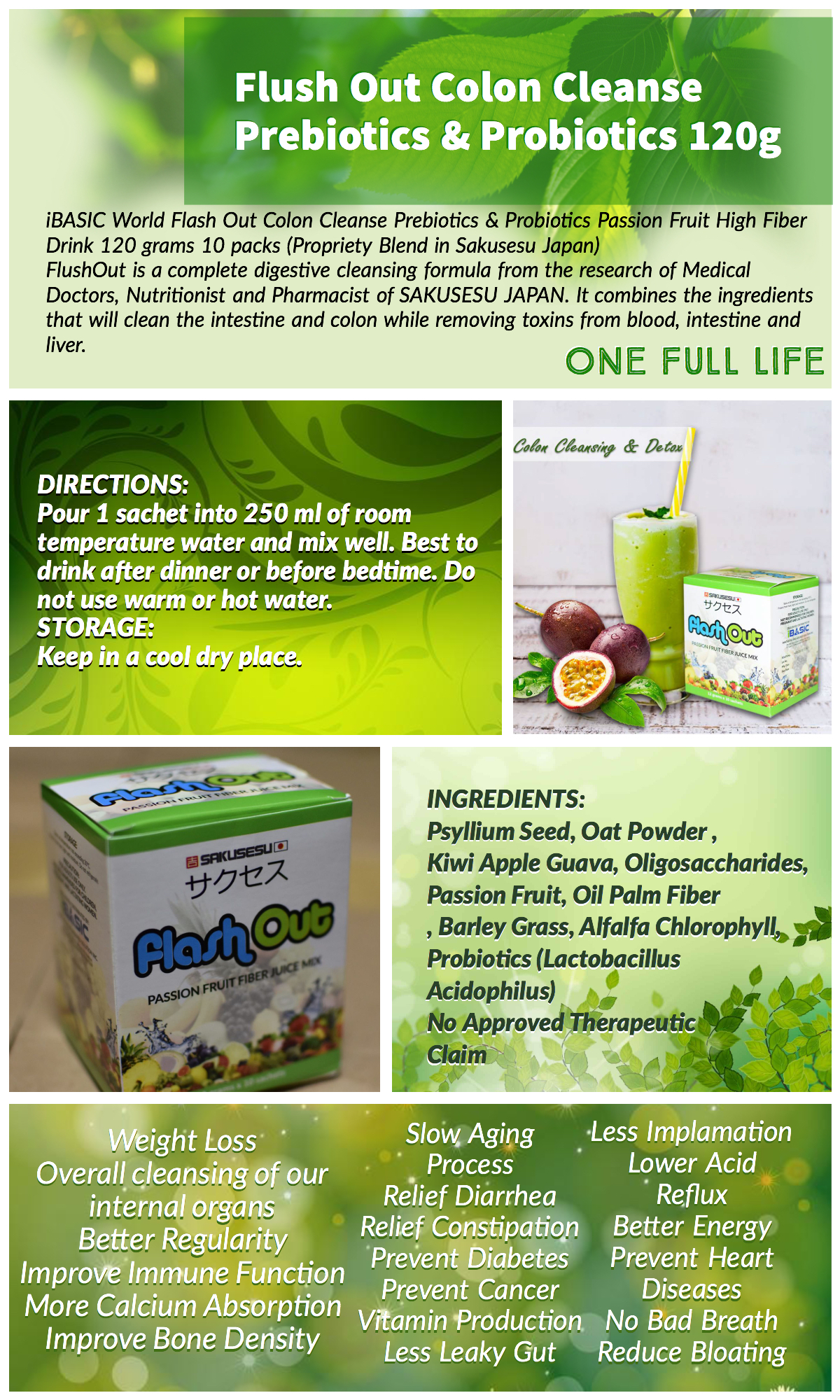 Flush Out / Flash Out Colon Cleanse Prebiotics & Probiotics