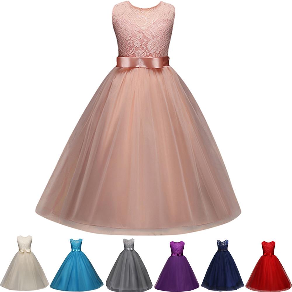 Flower Girl Dress Kids Princess Formal Pageant Holiday Wedding Bridesmaid Dress