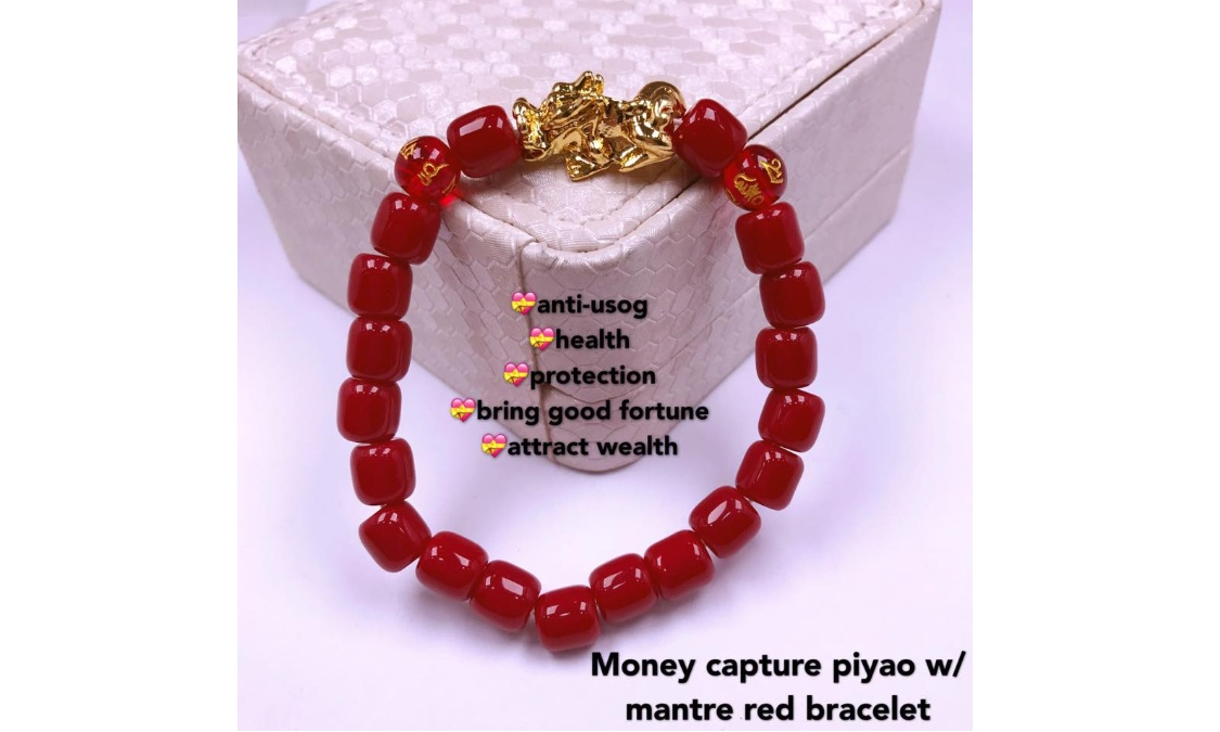 money capture piyao w/ mantra red bracelet anti-usog health protection  bring good fortune attract wealth quality: class A coral Thailand gold  plated