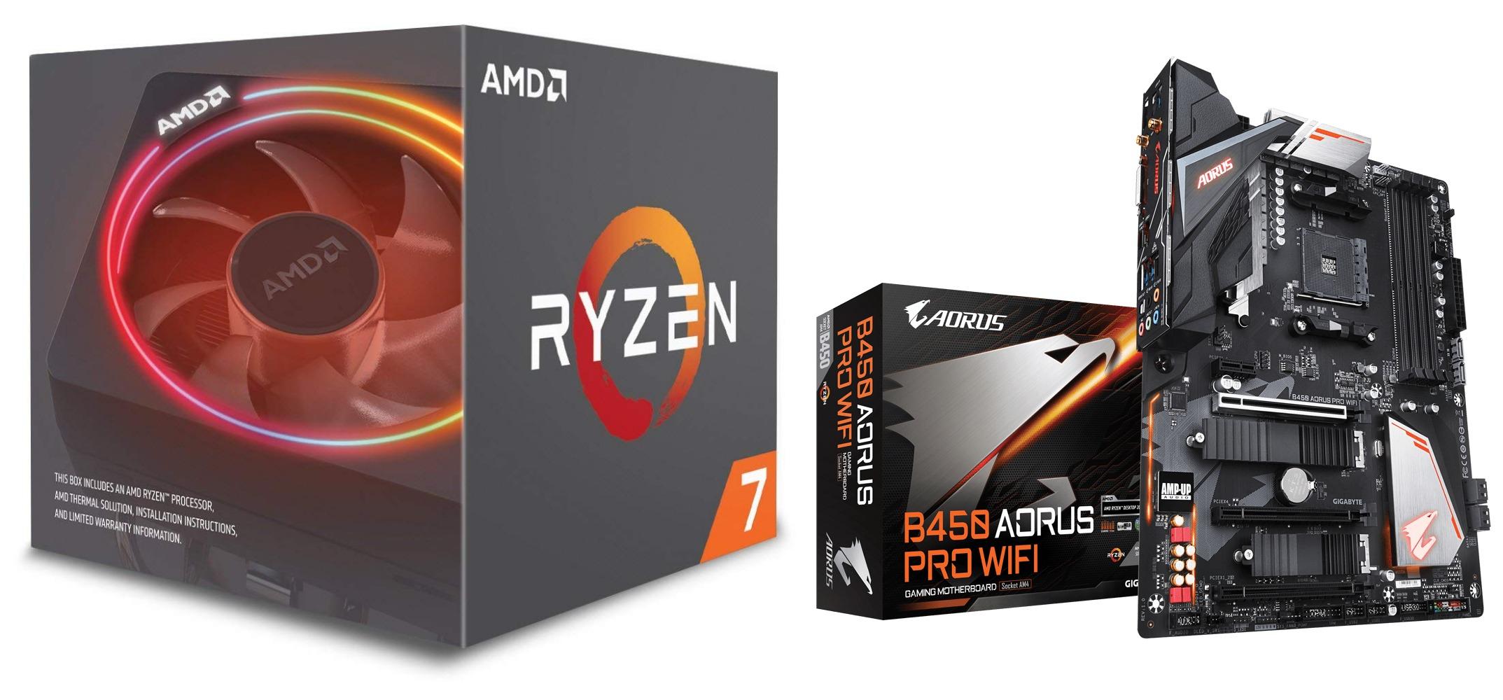 AMD Ryzen 7 2700X PROCESSOR BUNDLE with Gigabyte B450 AORUS PRO WIFI  MOTHERBOARD