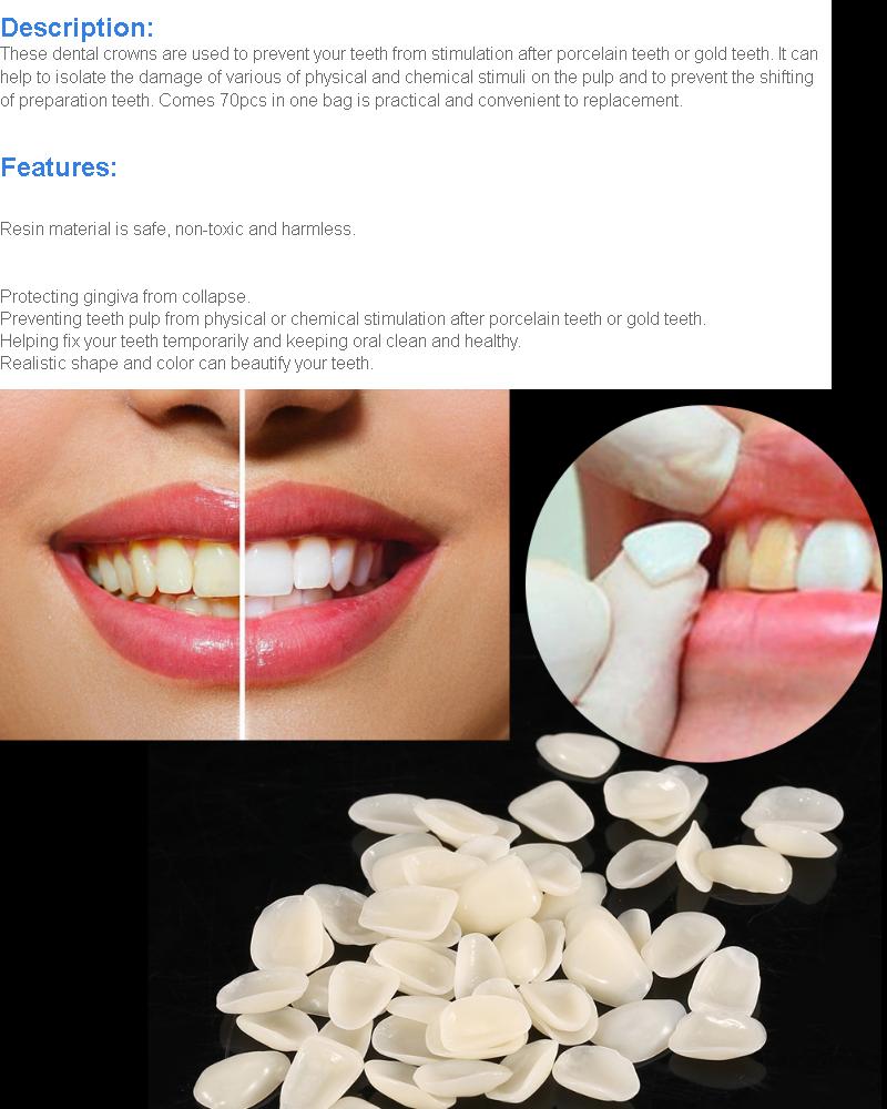 70PCS/Bag Teeth Veneers Resin Anterior Upper Temporary Crown For Dental  Oral Care - intl