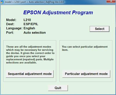 Printer End of Service Life, Reset Level - Epson  L110,L120,L200,L210,L220,L300 ALL L SERIES