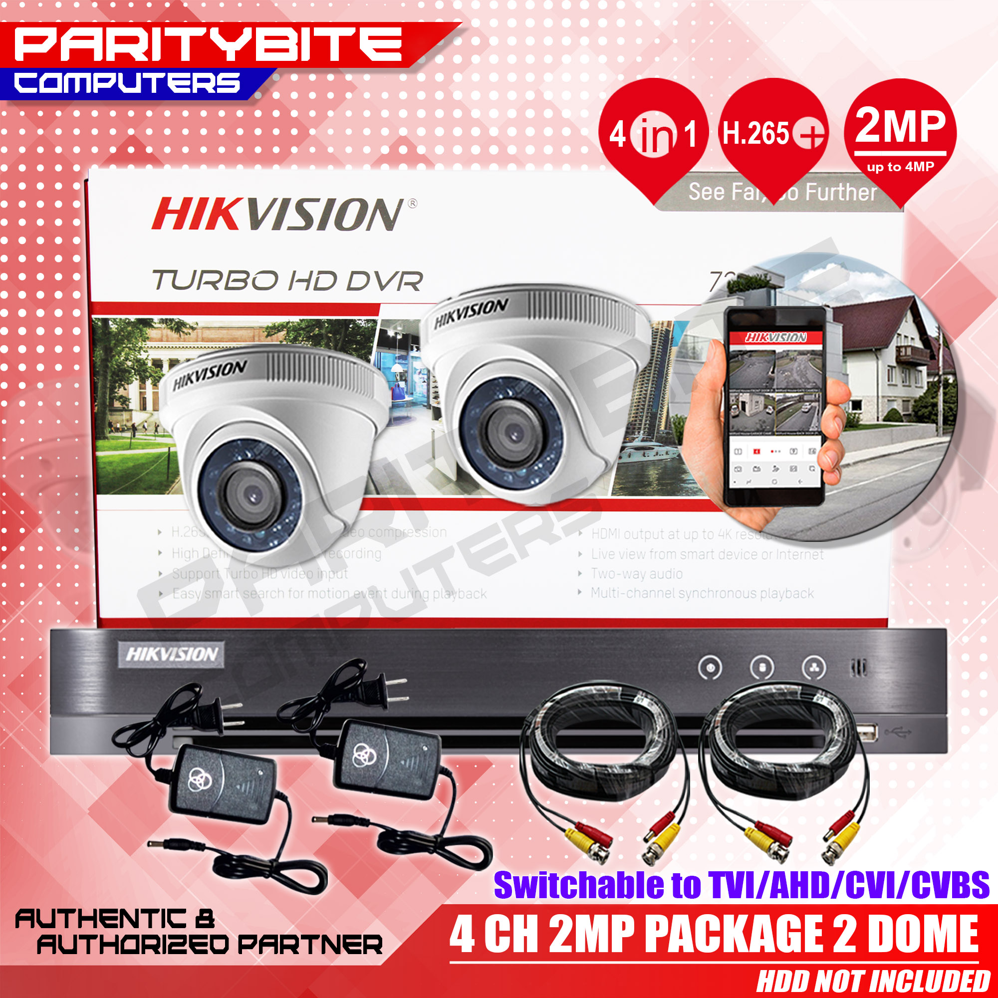 HIKVISION 4CH DVR 2 DOME 1080/2MP PACKAGE (DS-7204HQHI-K1, DS-2CE56D0T-IRPF  X 2) HDD NOT INCLUDED