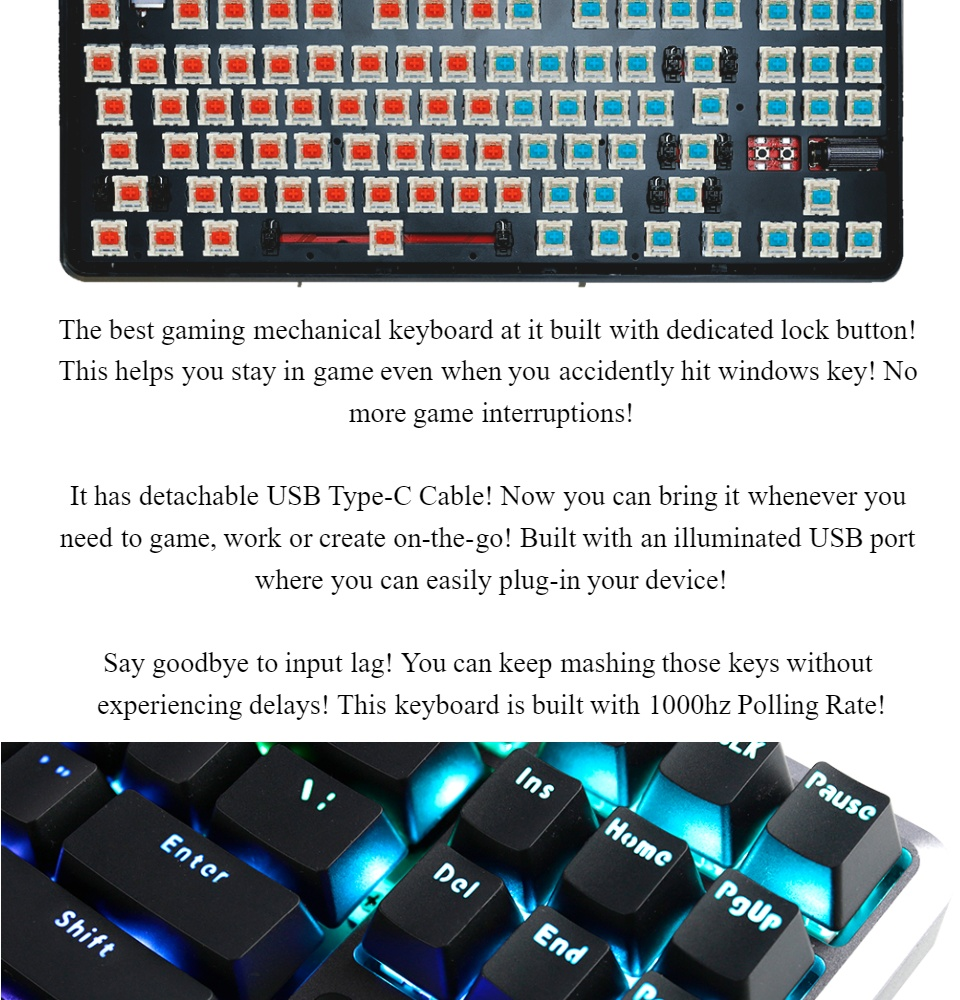 Rakk Lam-Ang Lite RGB TKL Mechanical Gaming Keyboard Outemu Blue, Fully  Modular and Easy-to-Replace Outemu Switch, Cherry Blue Switch Performance