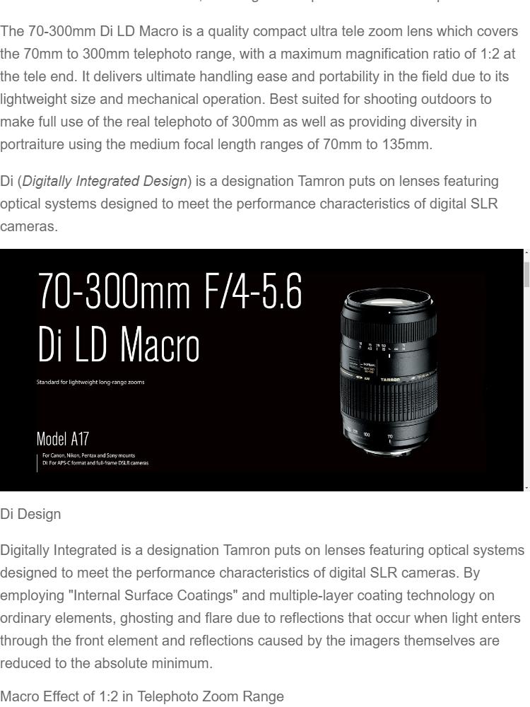 3 Year Warranty (NIKON) Tamron AF 70-300mm f/4-5 6 Di LD Macro 1:2  Autofocus Lens for Nikon A17N ii A17N 2