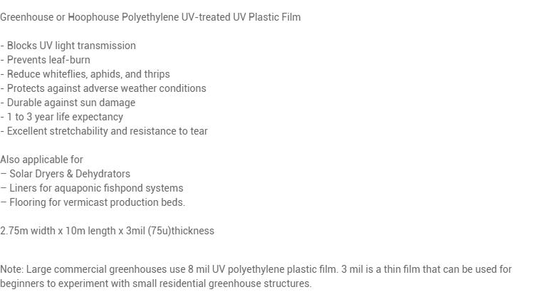 3 mil UV Treated Polyethylene Plastic Tunnel Film 10 meters