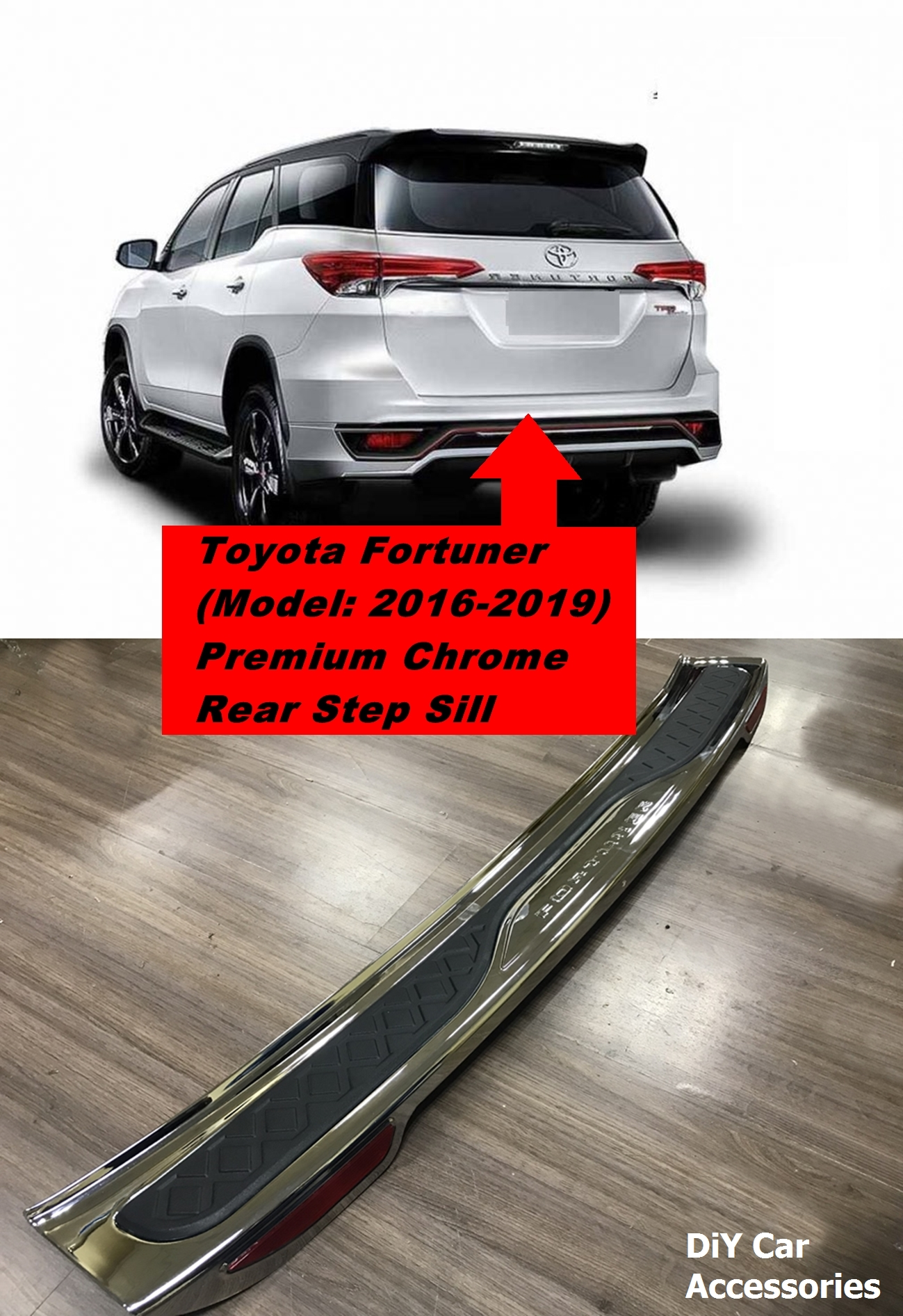 Toyota Fortuner Premium Chrome Rear Bumper Step Sill (2016-2019)