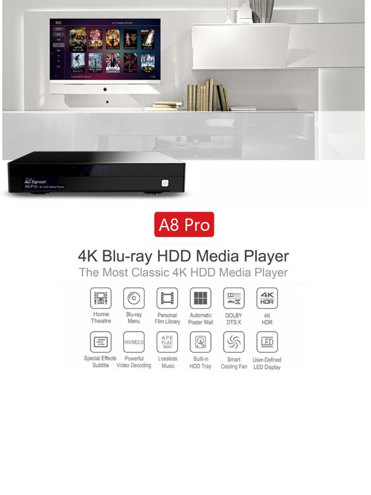Egreat A8 Pro - 4k Android 7 0 Media Player with Display and slot for  internal Hard Drive Bay (HDMI, MKV, USB, LAN, WLAN) [BD ISO Menu]
