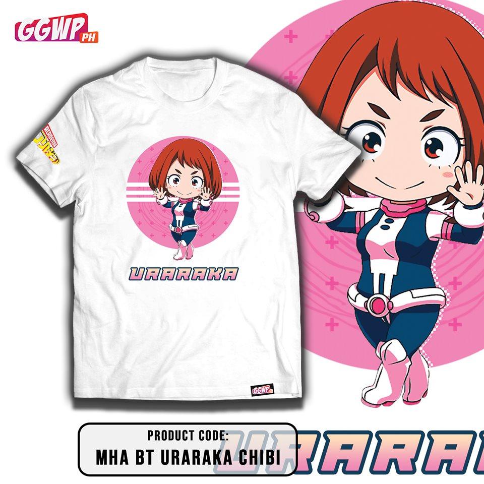 Ggwp My Hero Academia Chibi High Quality White Dry Fit Tshirt All Might Deku Asui Bakugo Lida Todoroki Uraraka Toshinori