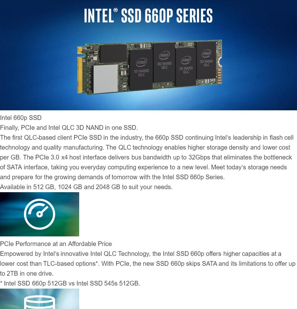 Intel 660p Series M 2 2280 1TB PCI-Express 3 0 x4 3D NAND Internal Solid  State Drive (SSD) SSDPEKNW010T8X1