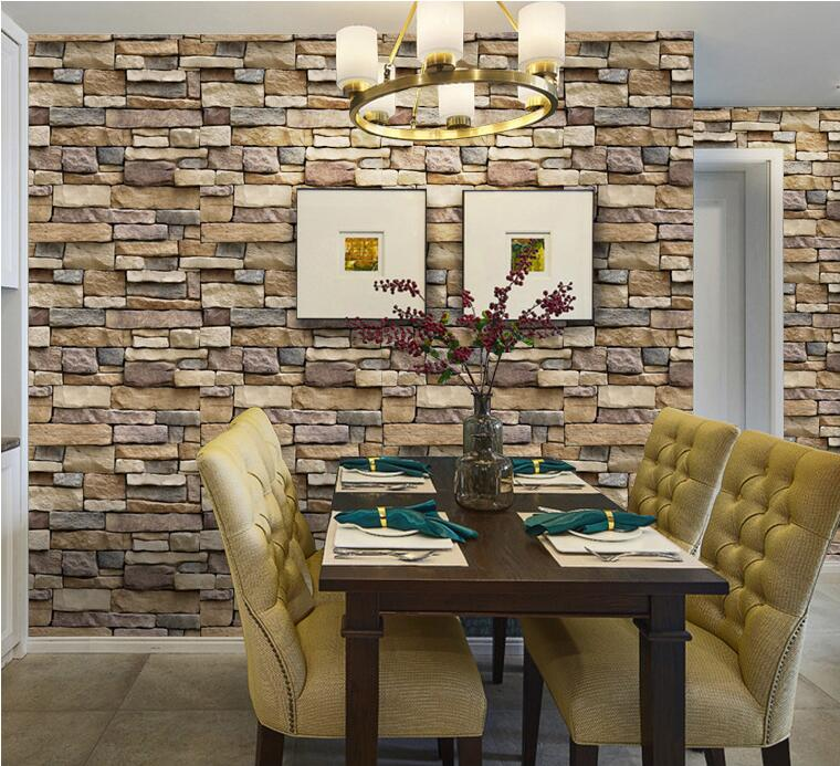 3D Wallpaper Waterproof Brick Stone Self-adhesive Wall Stickers Decals Decor H