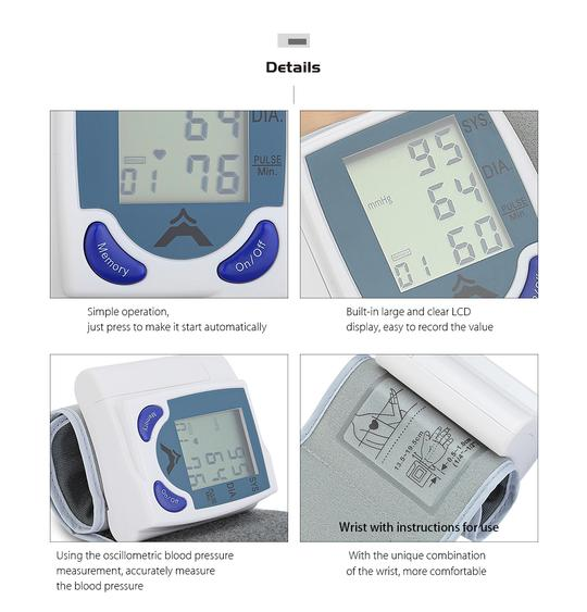 ORIGINAL Blood Pressure Monitoring Digital Wrist Watch Heart Beat Monitor  For Home Use Family Health Care