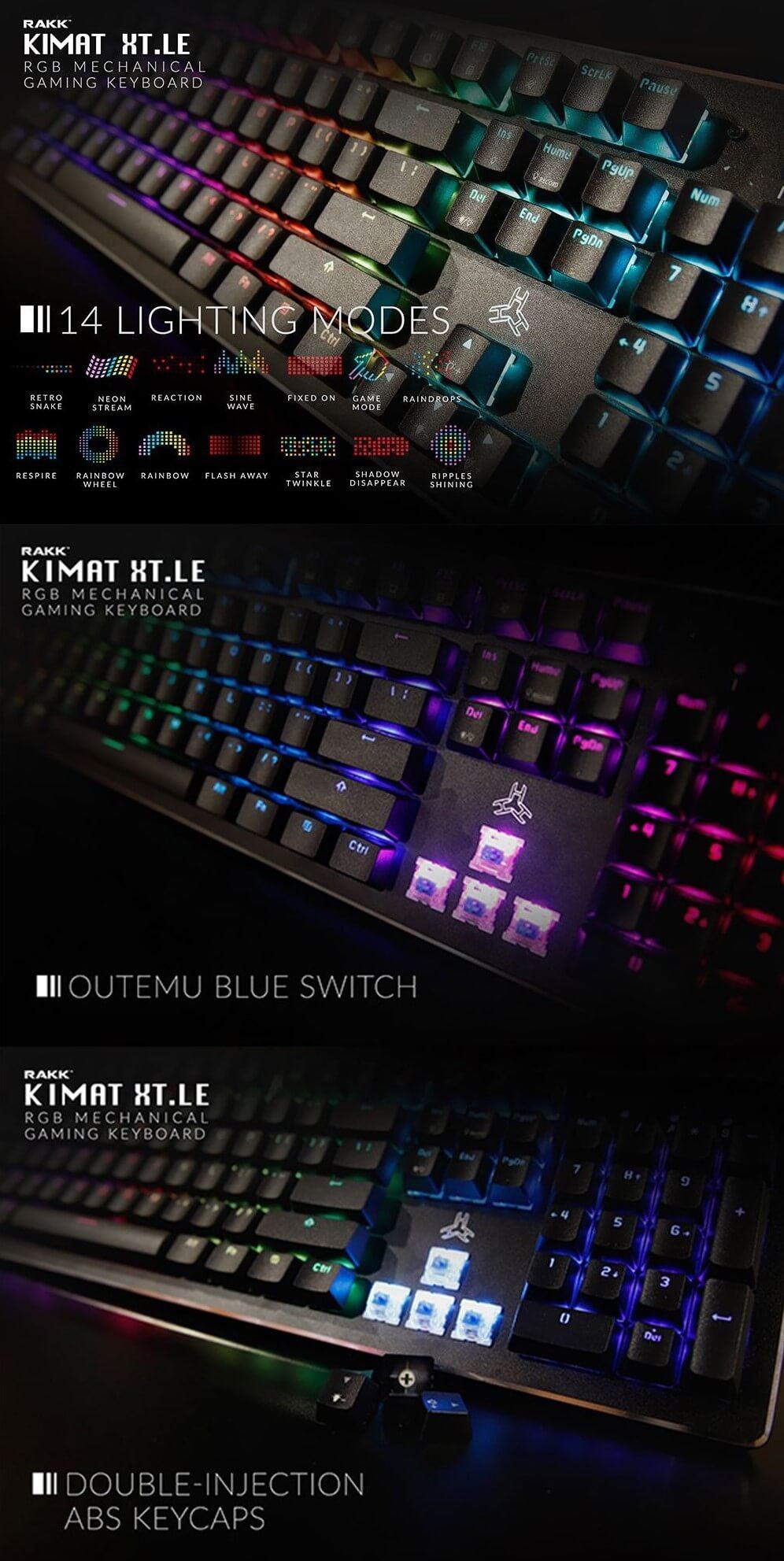 Rakk Kimat XT LE RGB Mechanical Gaming Keyboard, Simple yet Elegant  Designed Keyboards Rakk Kimat XT-LE Keyboard Mechanical, Outemu Blue for  Clicky