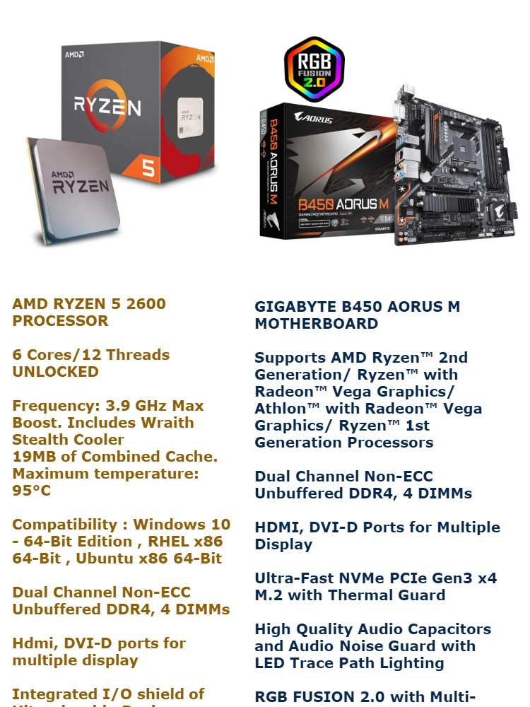 AMD Ryzen 5 2600 Processor BUNDLE with GIGABYTE B450 AORUS M Micro ATX  Motherboard