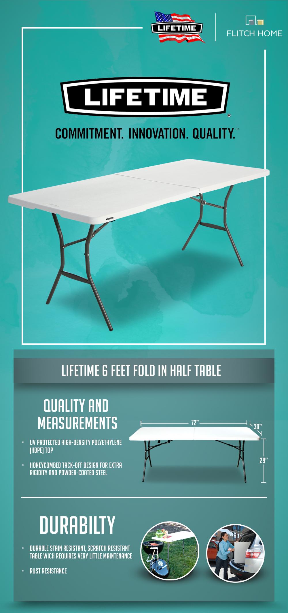 - Lifetime 6 FT Fold-In-Half Table - White Lazada PH