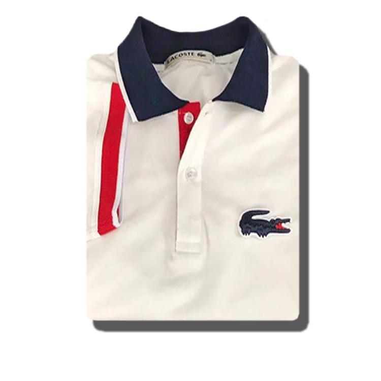 fb90008bad Product details of Men's Lacoste Polo Shirt White OVERSIZED LOGO + FREE 1PC  T SHIRT