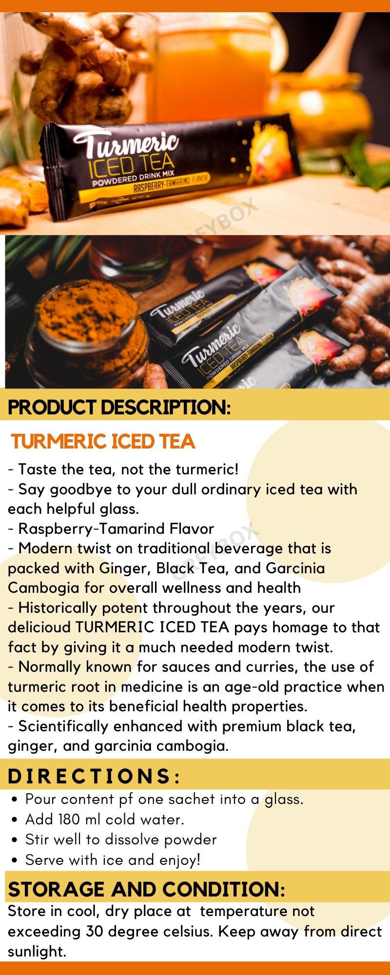 Organic Healthy Turmeric Iced Tea Raspberry Tamarind Flavor Juice
