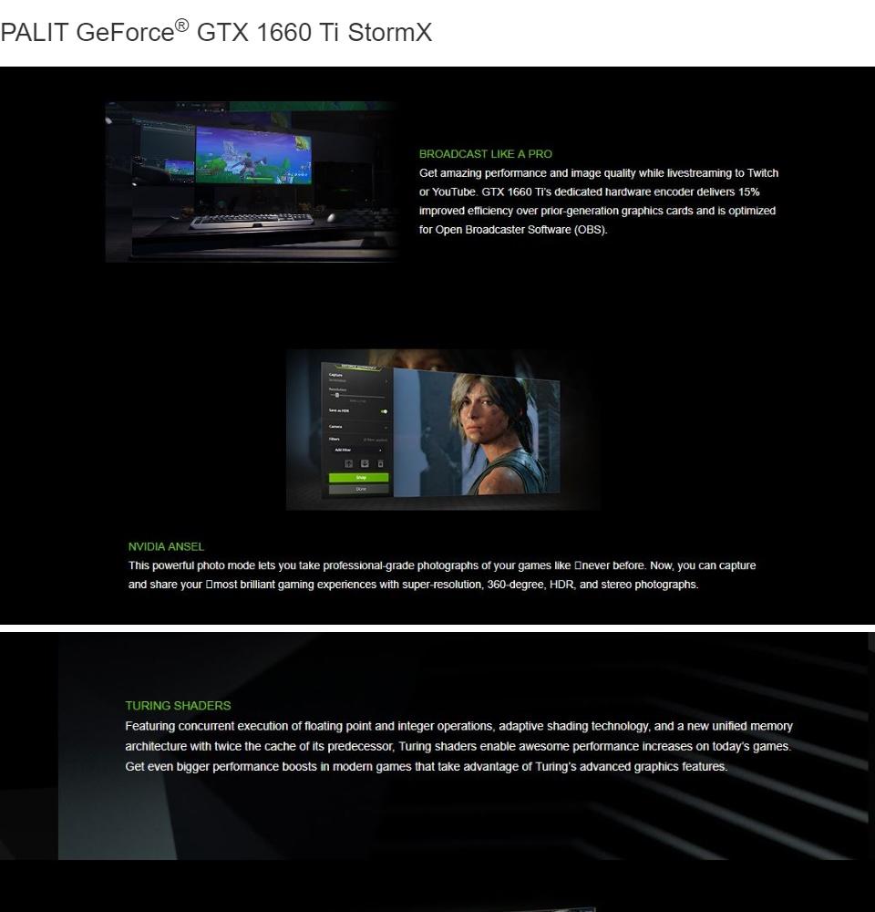 PALIT GTX 1660 Ti StormX 6GB GDDR6 192bit DVI HDI DP Graphics Card