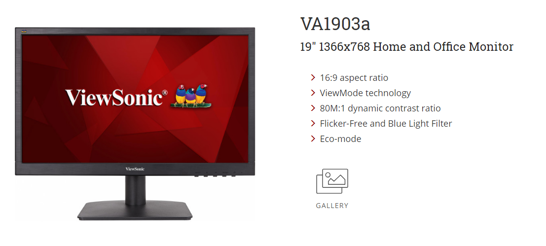 Viewsonic VA1903a 18 5 Led 1366x768 Home and Office Monitor
